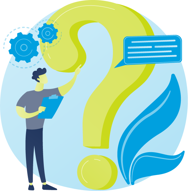 Illustration of person holding a clipboard and pointing to a giant question mark